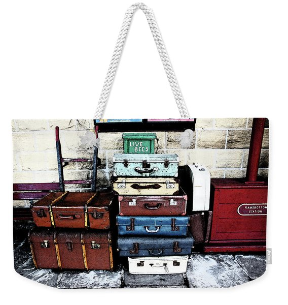 Ramsbottom.  Elr Railway Suitcases On The Platform. Weekender Tote Bag