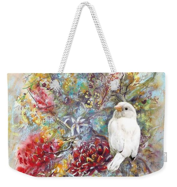 Rare White Sparrow - Portrait View. Weekender Tote Bag