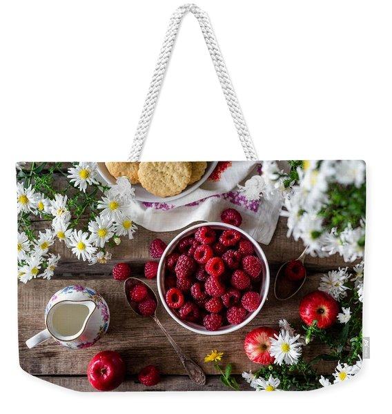 Raspberry Breakfast Weekender Tote Bag