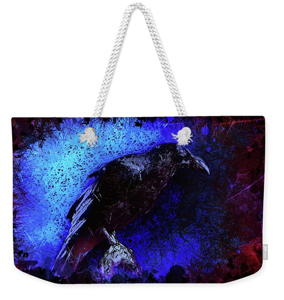 Weekender Tote Bag featuring the mixed media Raven by Al Matra