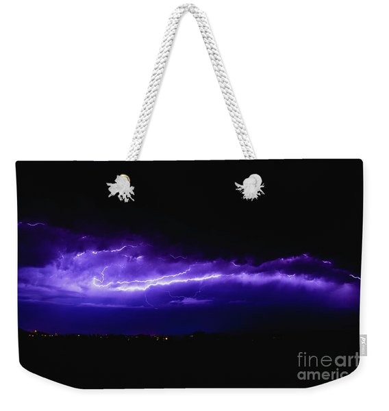 Rays In A Night Storm With Light And Clouds. Weekender Tote Bag