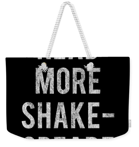 Weekender Tote Bag featuring the digital art Read More Shakespeare Vintage by Flippin Sweet Gear