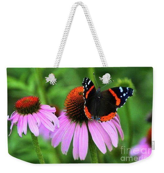 Red Admiral And Coneflowers Weekender Tote Bag