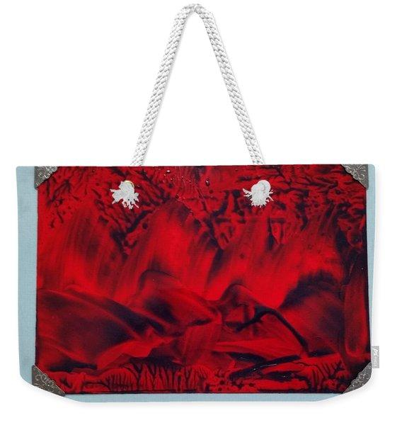 Red And Black Encaustic Abstract Weekender Tote Bag