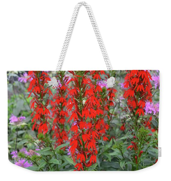 Red And Lavender Wildflowers Vertical Weekender Tote Bag