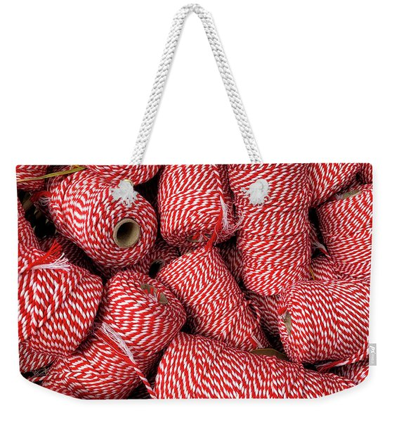 Red And White Thread Weekender Tote Bag
