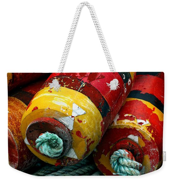 Red And Yellow Crab Pot Buoys Weekender Tote Bag