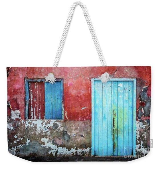 Red, Blue And Grey Wall, Door And Window Weekender Tote Bag