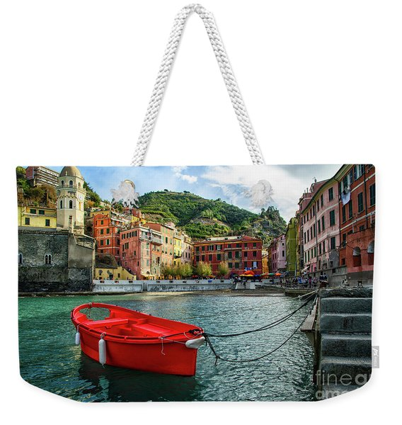 Red Boat Vernazza Cinque Terre  Weekender Tote Bag