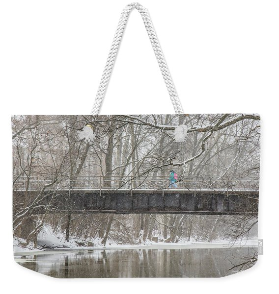 Red Cedar River Michigan State Winter  Weekender Tote Bag