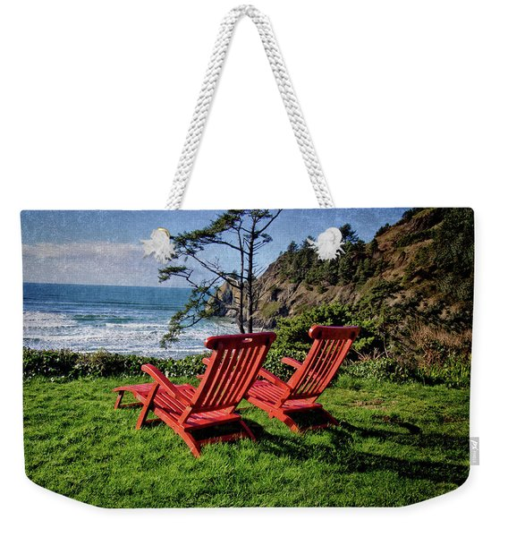 Red Chairs At Agate Beach Weekender Tote Bag