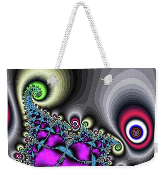 Weekender Tote Bag featuring the digital art Red Circus Eyes by Don Northup