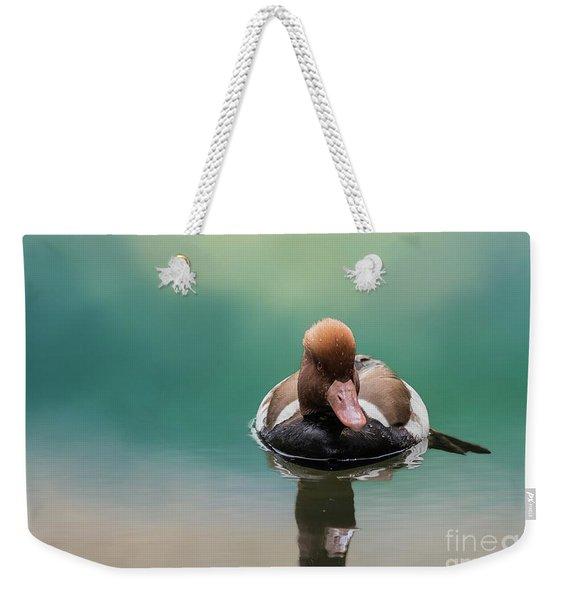 Red-crested Pochard Swimming Weekender Tote Bag