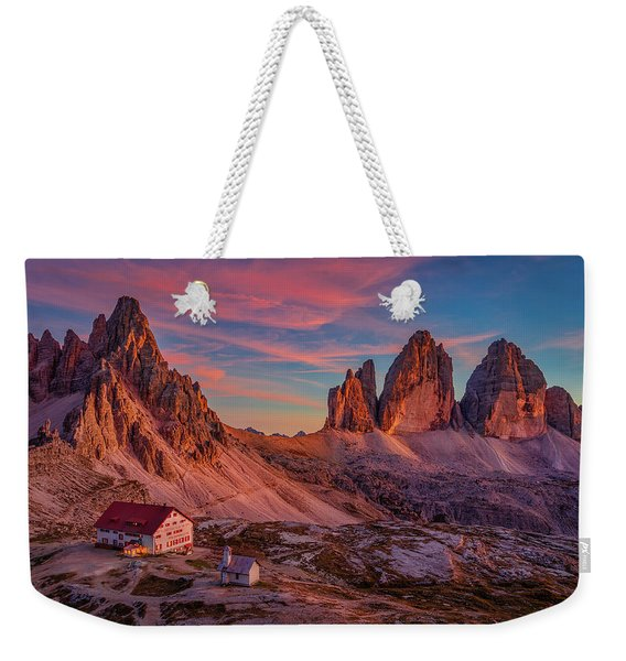 Red Evening On Tre Cime Di Lavaredo Weekender Tote Bag