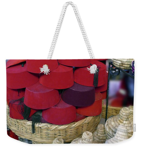 Red Fez Tarbouche And White Wicker Tagine Cookers Weekender Tote Bag