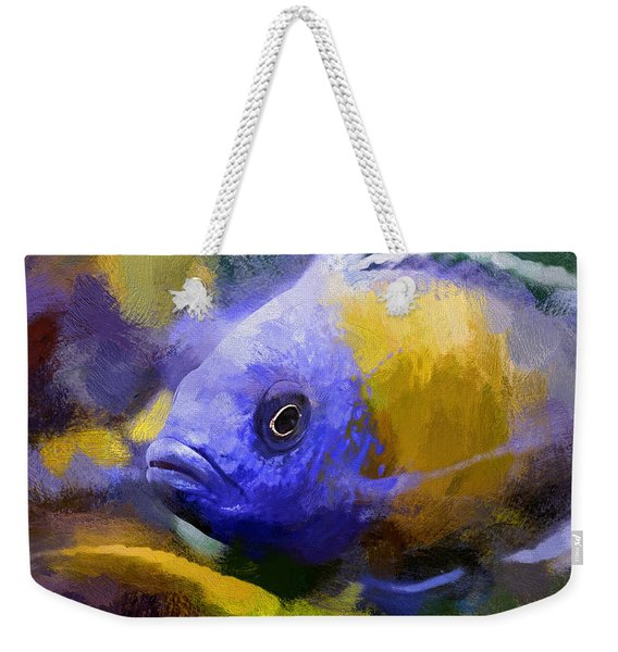 Weekender Tote Bag featuring the digital art Red Fin Borleyi Cichlid Artwork by Don Northup