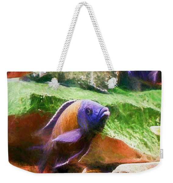 Red Fin Borleyi Cichlid Rising Weekender Tote Bag