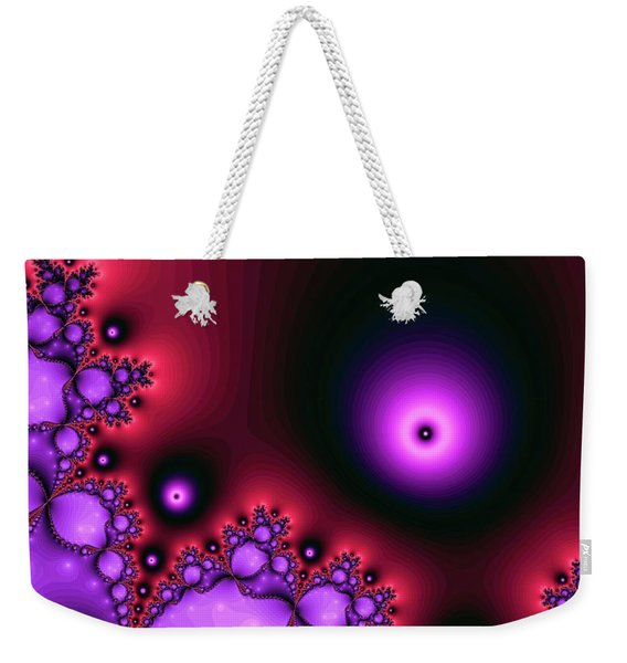 Weekender Tote Bag featuring the digital art Red Glowing Bliss Abstract by Don Northup
