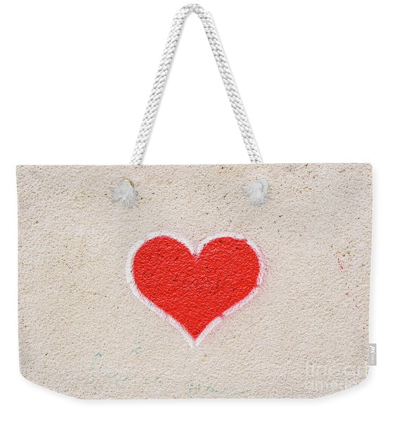 Red Heart Painted On A Wall, Message Of Love. Weekender Tote Bag