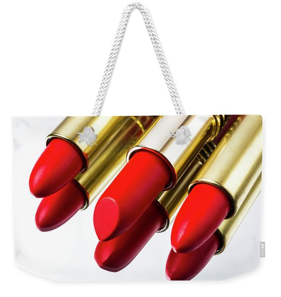 Red Lipstick Reflection Weekender Tote Bag