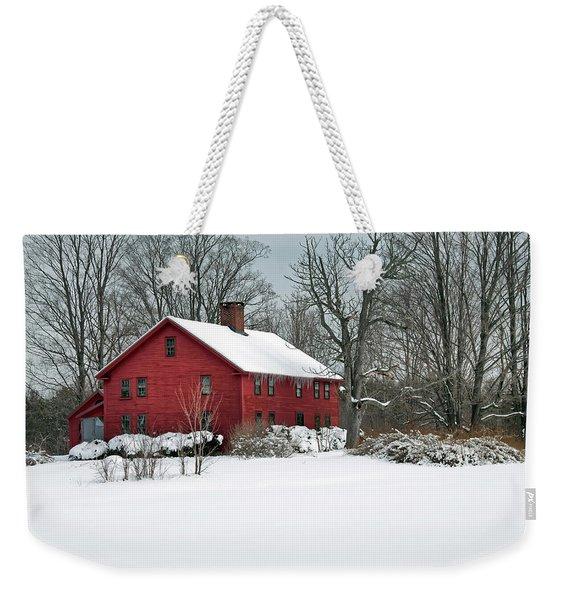 Red New England Colonial In Winter Weekender Tote Bag