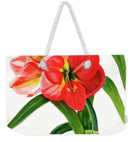 Red-orange Amaryllis Weekender Tote Bag