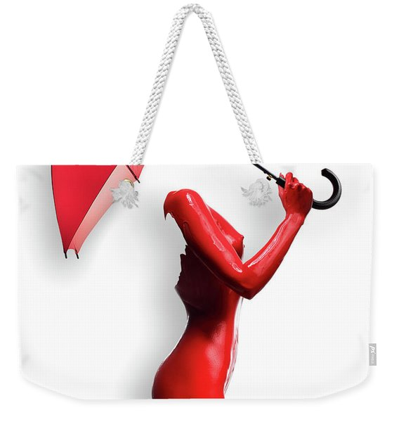 Red Painted Body With Umbrella Weekender Tote Bag