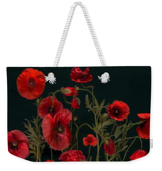 Red Poppies On Black Weekender Tote Bag