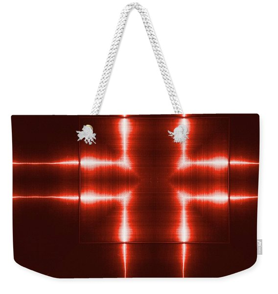 Red Reflecting Metallic Surface. Technological  Background.  Weekender Tote Bag