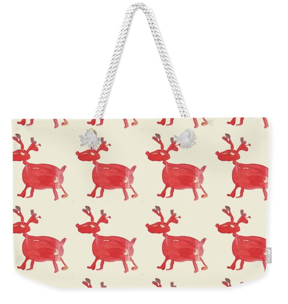 Red Reindeer Pattern Weekender Tote Bag