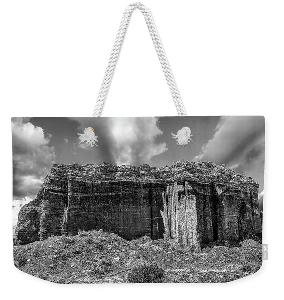 Weekender Tote Bag featuring the photograph Red Rock Bw by Scott Cordell