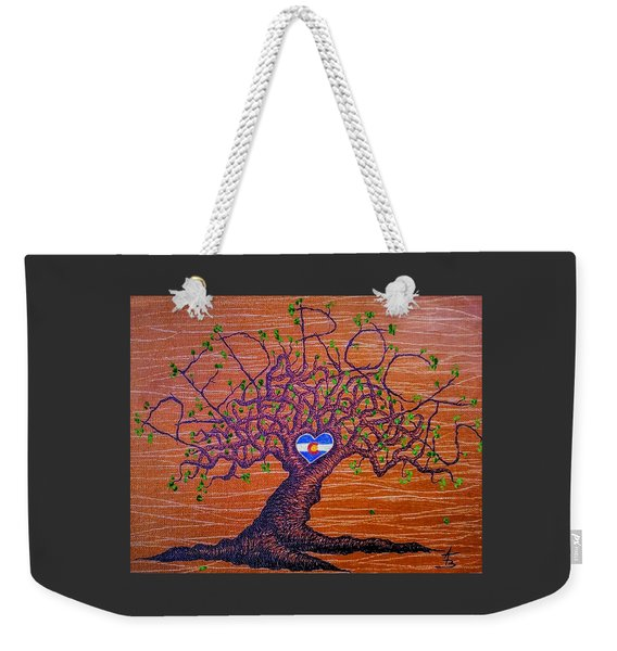 Weekender Tote Bag featuring the drawing Red Rocks Lta W/ Foliage by Aaron Bombalicki
