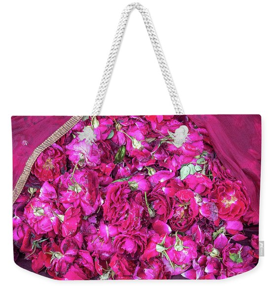 Weekender Tote Bag featuring the photograph Red Roses by Robin Zygelman