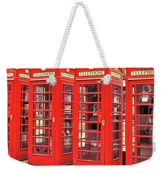 Weekender Tote Bag featuring the photograph Red Telephone Box  by JAMART Photography