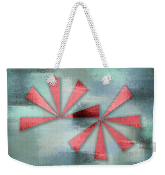 Red Triangles On Blue Grey Backdrop Weekender Tote Bag