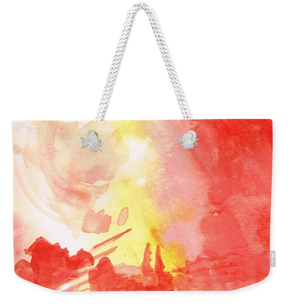 Red Village Abstract 1 Weekender Tote Bag