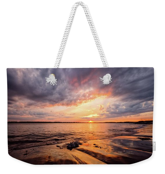 Weekender Tote Bag featuring the photograph Reflect The Drama, Sunset At Fort Foster Park by Jeff Sinon