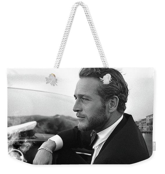 Reflecting, Paul Newman, Movie Star, Cruising Venice, Enjoying A Cuban Cigar, Black And White Weekender Tote Bag