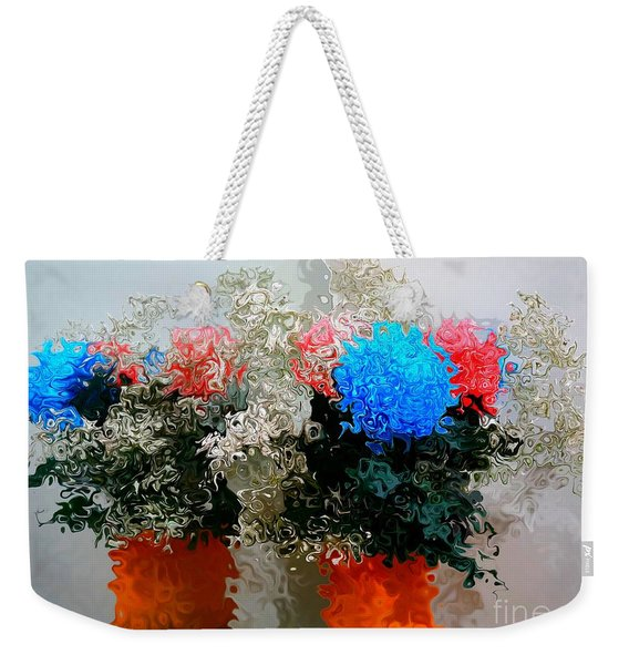 Reflection Of Flowers In The Mirror In Van Gogh Style Weekender Tote Bag