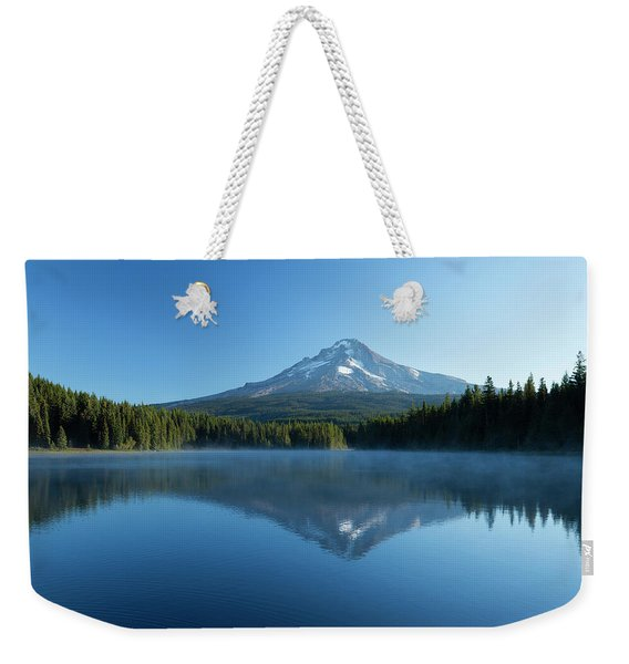 Reflection Of Mountain In Lake, Mirror Weekender Tote Bag