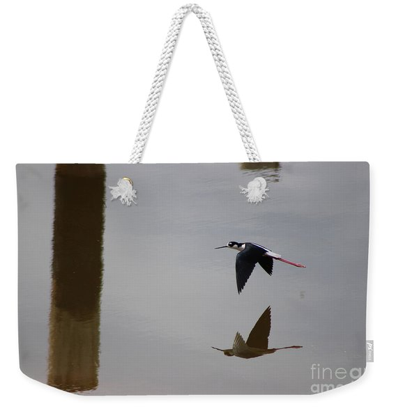 Reflection Of The Salton Sea Black Neck Stilt Flying Weekender Tote Bag