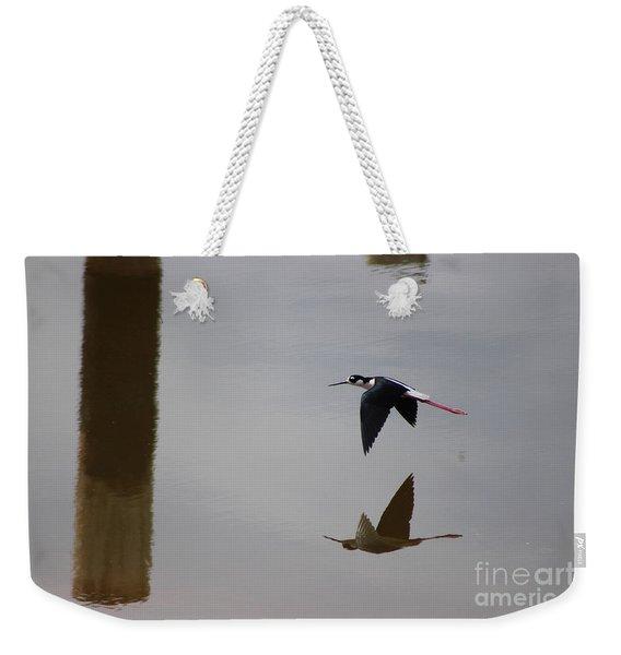 Reflection Of The Salton Sea Black Neck Stilt Flying Weekender Tote Bag
