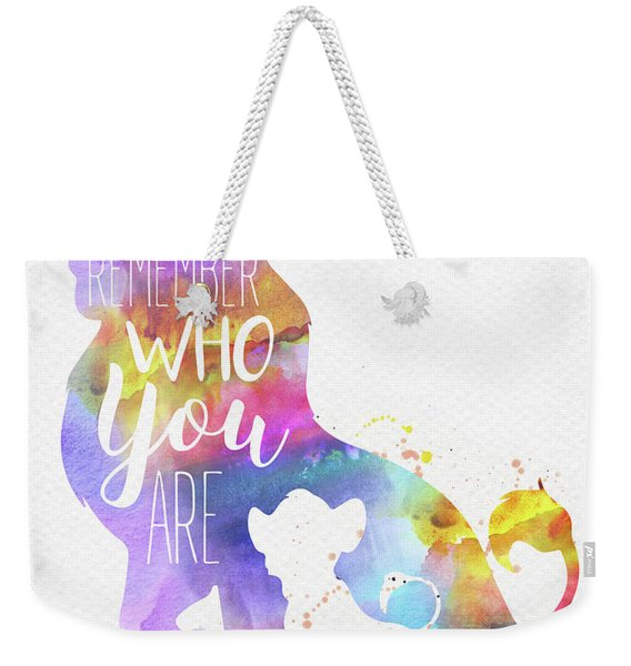 Remember Quote The Lion King Watercolor Weekender Tote Bag