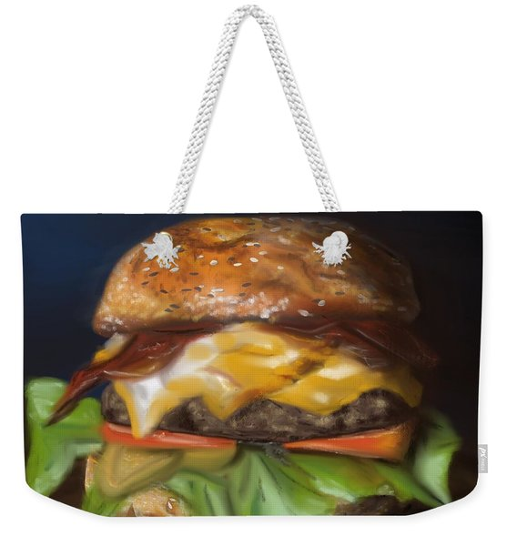Weekender Tote Bag featuring the pastel Renaissance Burger  by Fe Jones