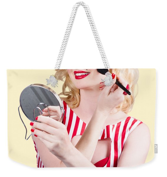 Retro Pin-up Woman Doing Beauty Make-up Weekender Tote Bag