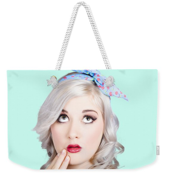 Retro Style Portrait Of A Blond Girl With A Bow Weekender Tote Bag