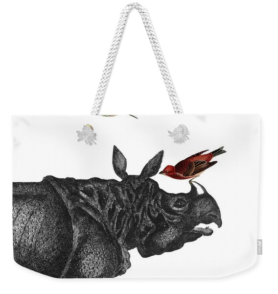 Rhinoceros With Birds Art Print Weekender Tote Bag