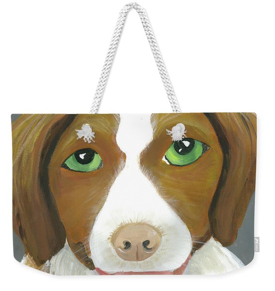 Weekender Tote Bag featuring the painting Riley by Suzy Mandel-Canter