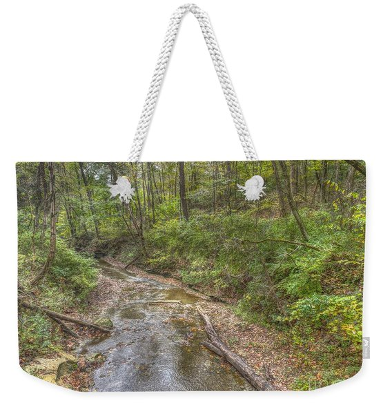 River Flowing Through Pine Quarry Park Weekender Tote Bag
