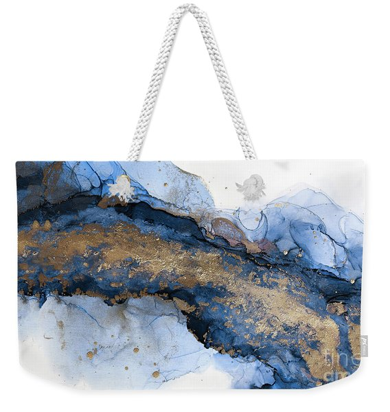 River Of Blue And Gold Abstract Painting Weekender Tote Bag